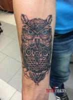 Стильная татуировка совы.