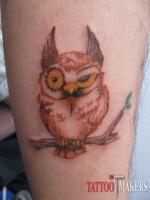 цветная татуировка совы на ноге