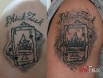 Исправление татуировки на плече до  и после.