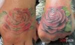 Коррекция тату розы на кисти