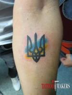 Тату тризуб с флагом Украины.