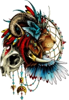 Тату эскиз с черепом, львом и ловцом снов.